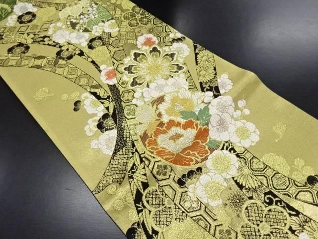 【IDN】 金糸熨斗に牡丹・八重梅・華紋・古典柄織り出し袋帯【リサイクル】【中古】【着】