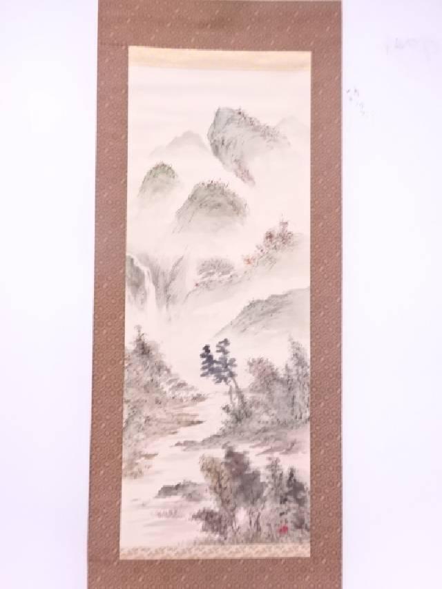 【IDN】 日本画 耕山筆 秋山水 肉筆絹本掛軸(共箱)【中古】【道】