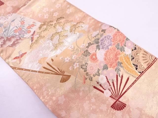 【IDN】 扇に花車模様織出し袋帯【リサイクル】【中古】【着】