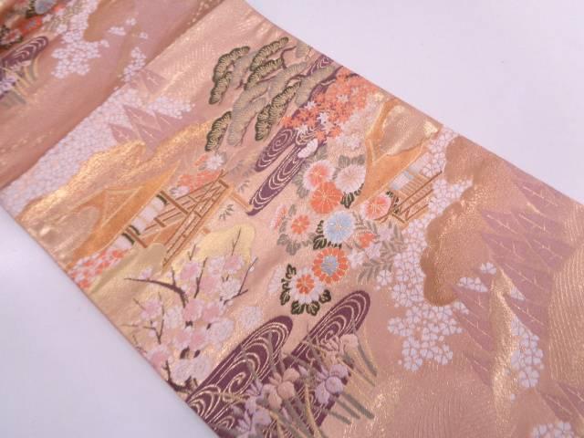 【IDN】 本金箔草花に屋敷風景模様織出し袋帯 【リサイクル】【中古】【着】, 特産品くらぶ ca49c212
