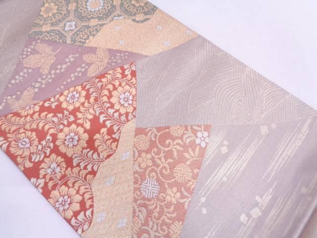 【IDN】 花唐草に古典柄模様織出し袋帯【リサイクル】【中古】【着】