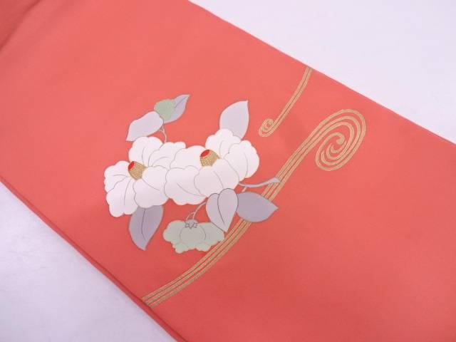 【IDN】 未使用品 塩瀬流水に椿模様刺繍名古屋帯【リサイクル】【着】