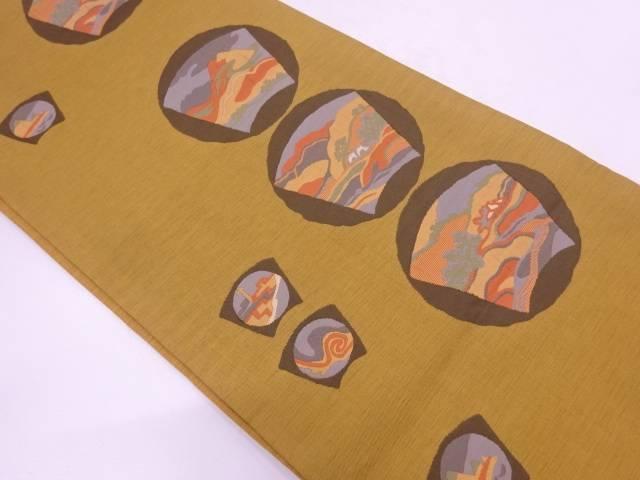 【IDN】 変わり地紙に風景模様織出し袋帯 【リサイクル】【中古】【着】