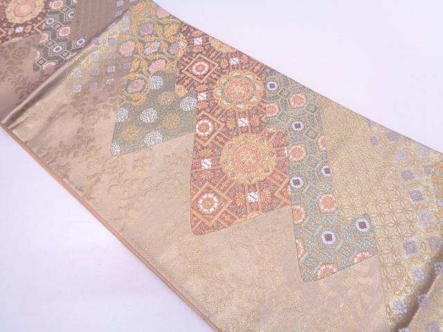 【IDN】 松皮菱に草花・古典柄模様織出し袋帯【リサイクル】【中古】【着】