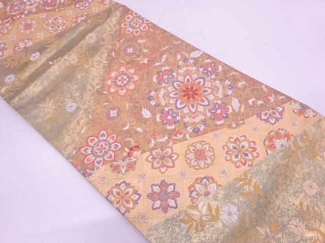【IDN】 引箔華紋に草花模様織出し袋帯 【リサイクル】【中古】【着】