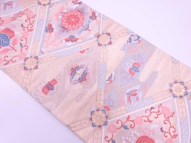 【IDN】 襷に花鳥模様織出し袋帯【リサイクル】【中古】【着】