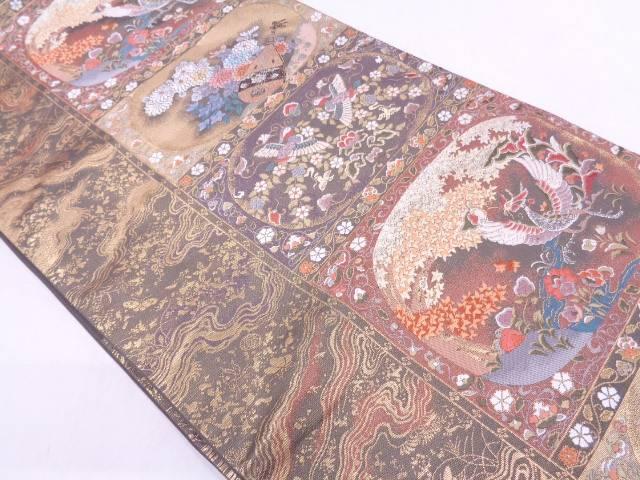 【IDN】 古楽器に花鳥模様織出し袋帯【リサイクル】【中古】【着】