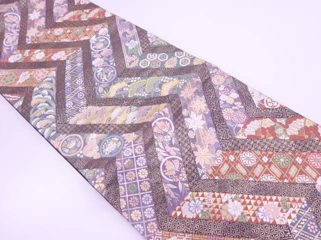 【IDN】 唐織松に草花・蝶模様織出し袋帯【リサイクル】【中古】【着】