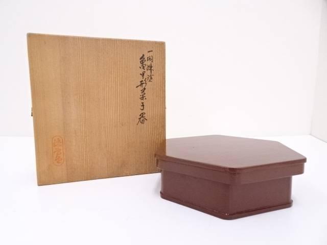 【IDN】 岡本漆専堂造 一閑塗亀甲形菓子器【中古】【道】