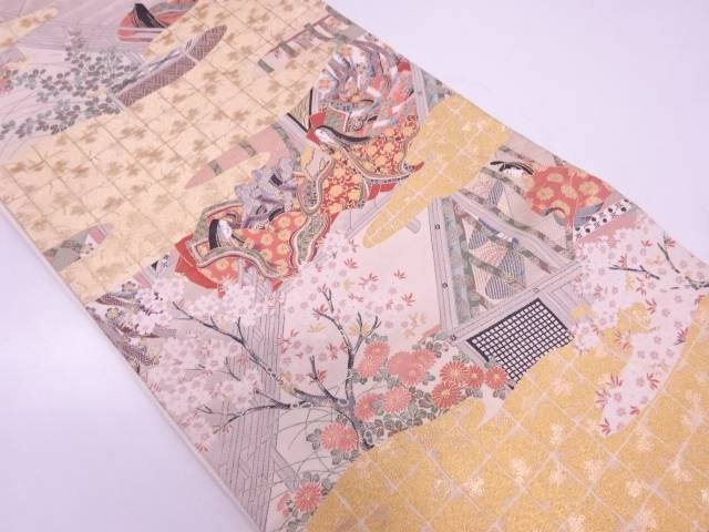 【IDN】 十二単に屋敷風景模様織出し袋帯【リサイクル】【中古】【着】