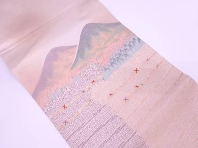 【IDN】 芝垣に山並み風景模様織出し袋帯【リサイクル】【中古】【着】