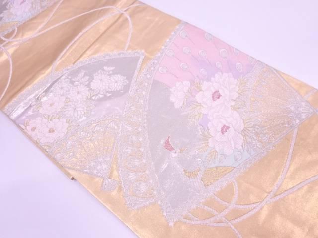【IDN】 扇に孔雀・牡丹模様織出し袋帯【リサイクル】【中古】【着】