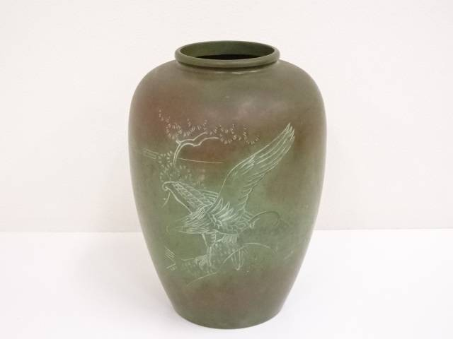 【IDN】 古物 銅山水彫花瓶【中古】【道】