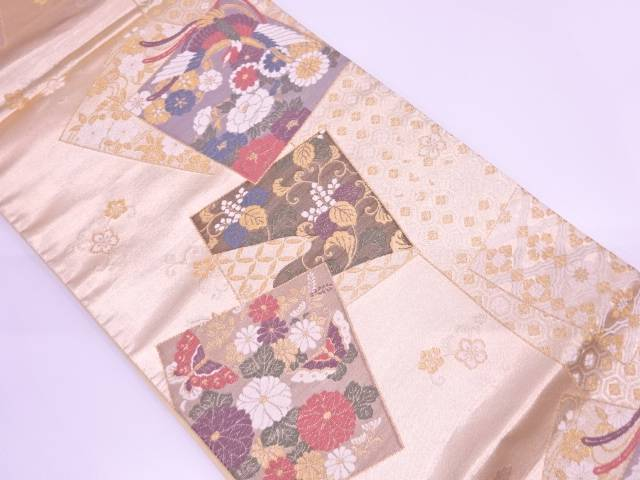 【IDN】 志織製 平安錦色紙に花鳥模様織出し袋帯【リサイクル】【中古】【着】