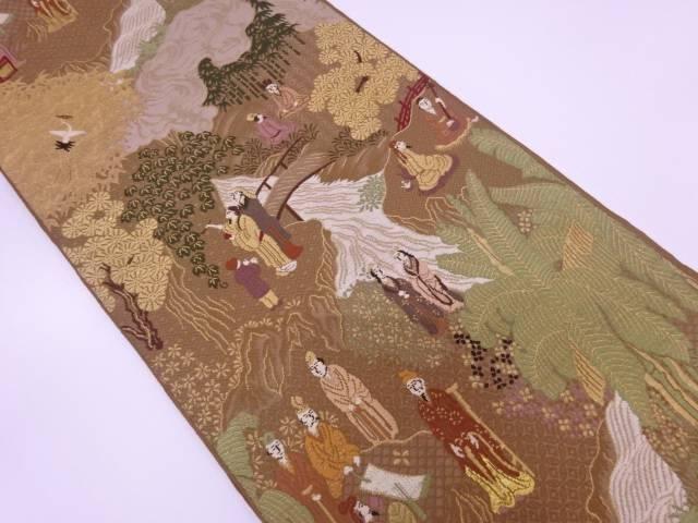 【IDN】 時代人物に風景模様織出し袋帯【リサイクル】【中古】【着】
