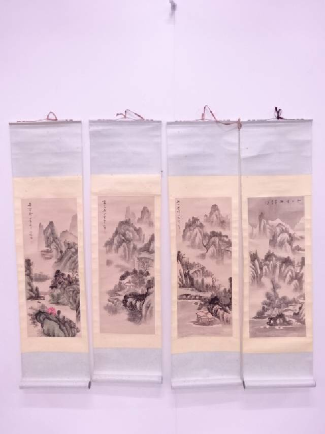 【IDN】 中国画 作家物 春夏秋冬山水 肉筆紙本掛軸四幅対【中古】【道】