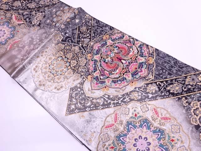 【IDN】 未使用品 引き箔花鳥に華文模様織出し袋帯【リサイクル】【着】