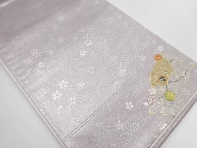 【IDN】 箔置螺鈿 地紙に花模様袋帯【リサイクル】【中古】【着】