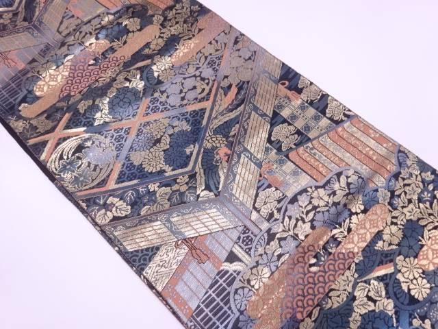 【IDN】 服部織物製 こはく錦ヱ霞に古典柄・草花模様織出し袋帯【リサイクル】【中古】【着】