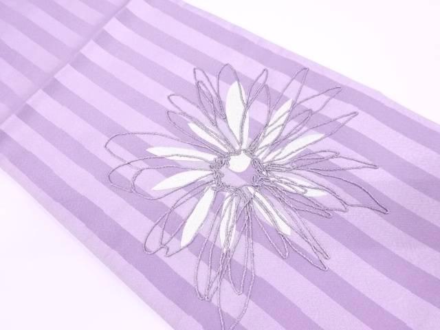 【IDN】 縞に花模様刺繍袋帯【リサイクル】【中古】【着】