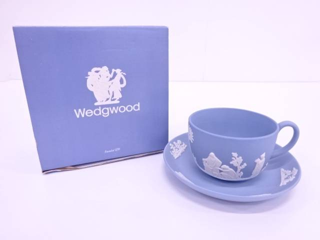【IDN】 WEDGWOOD ジャスパーペールブルー カップ&ソーサー【中古】【道】