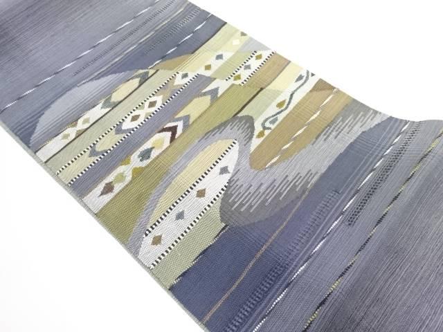 【IDN】 未使用品 カットワーク変わり織遠山に流水模様織り出しリバーシブル袋帯【リサイクル】【着】
