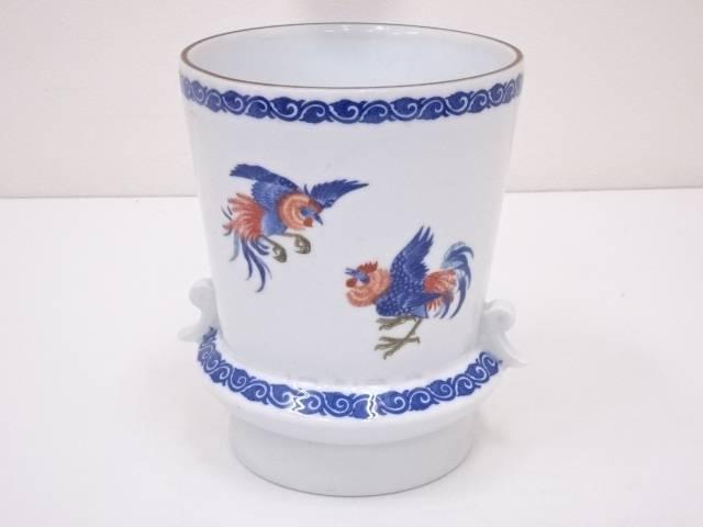【IDN】 オールド香蘭社 鶏図花瓶【中古】【道】