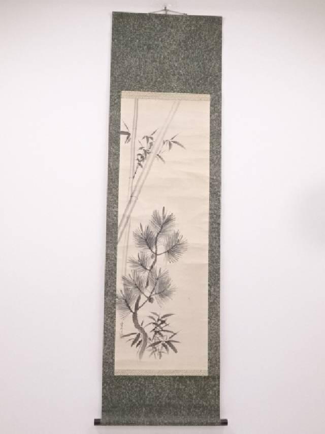 【IDN】 日本画 米幸筆 松竹梅図 肉筆紙本双幅掛軸【中古】【道】