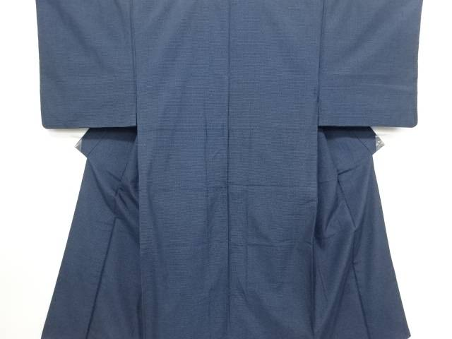 【IDN】 小格子織出手織り紬男物着物【リサイクル】【中古】【着】
