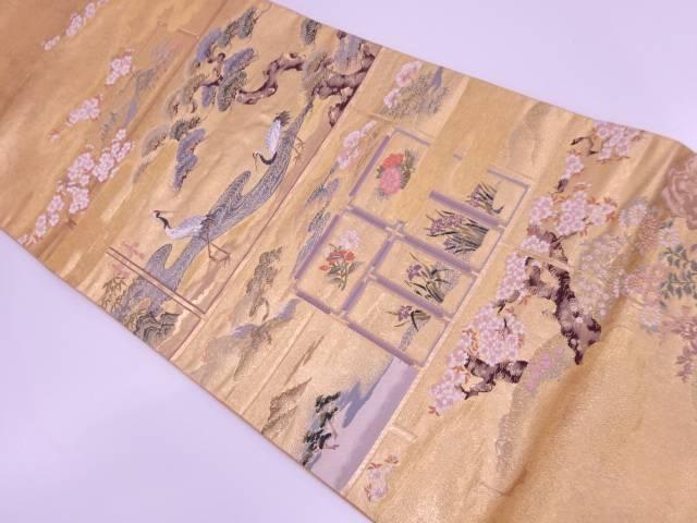 【IDN】 松に鶴・桜模様織出し袋帯【リサイクル】【中古】【着】