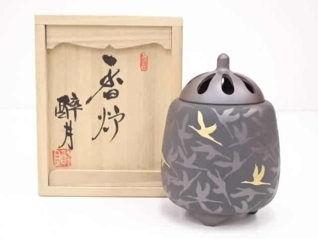 【IDN】 萬古焼 清水酔月造 群鶴図香炉【中古】【道】