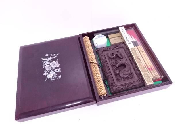 【IDN】 螺鈿花鳥紋中国硯箱セット【中古】【道】