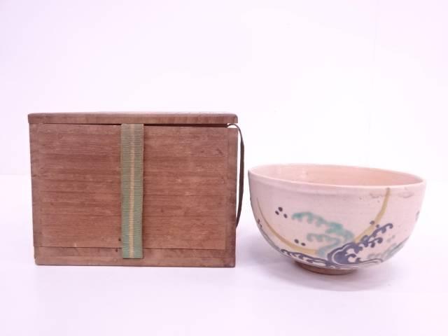 【IDN】 古物 作家物 色絵荒波に月茶碗【中古】【道】
