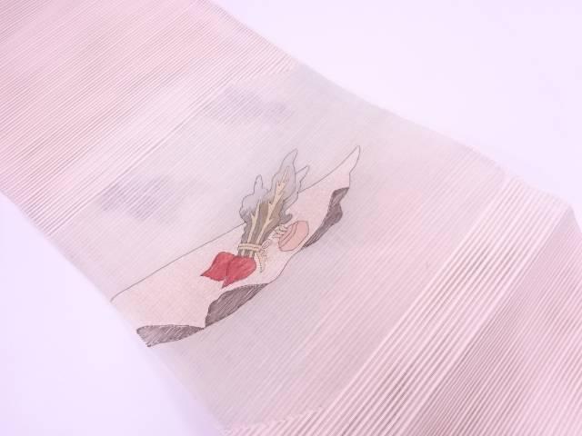 【IDN】 絽綴れ赤カブ模様織出し名古屋帯【リサイクル】【中古】【着】