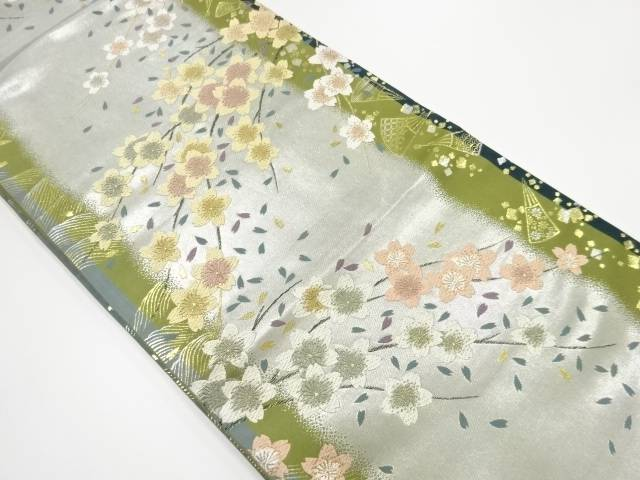 【IDN】 引箔桜模様織出袋帯【リサイクル】【中古】【着】
