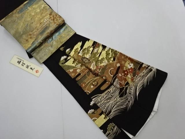 【IDN】 金彩友禅笠松に御所車模様留袖(比翼付き) 西村誠吏作 袋帯セット【リサイクル】【中古】【着】