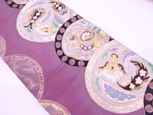 【IDN】 絵皿に動物・草花模様織出し袋帯【リサイクル】【中古】【着】