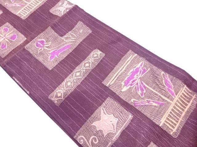 【IDN】 じゅらく製 帝王紫短冊に草花模様織出し袋帯【リサイクル】【中古】【着】
