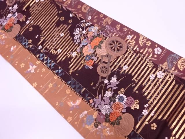 【IDN】 花車に蝶・片輪車模様織出し袋帯【リサイクル】【中古】【着】