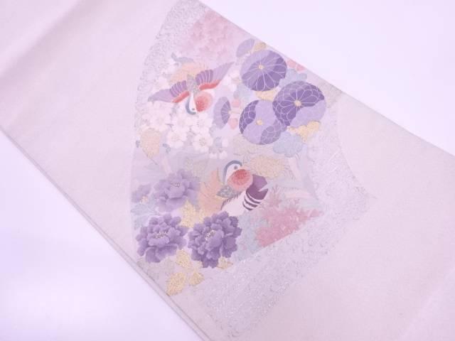 【IDN】 本綴れ鴛鴦に牡丹・菊模様織出し袋帯【リサイクル】【中古】【着】