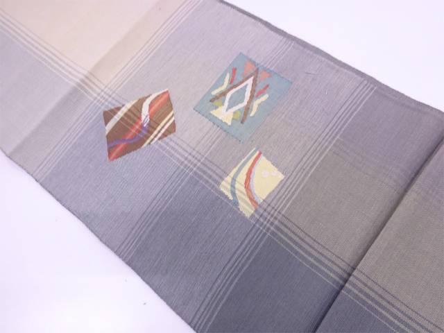 【IDN】 縞に抽象模様織出し名古屋帯【リサイクル】【中古】【着】