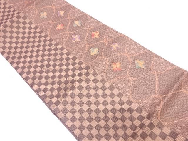【IDN】 網目に花・市松模様織出し袋帯【リサイクル】【中古】【着】