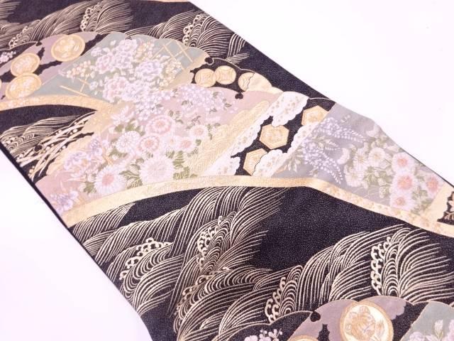 【IDN】 未使用品 押田和男製 雪輪取波花紋織出し袋帯【リサイクル】【着】