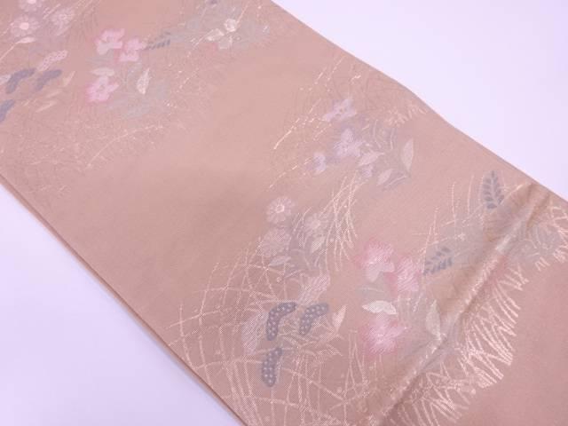【IDN】 未使用品 西陣まいづる製  紗 草花模様織出し袋帯(未仕立て)【リサイクル】【着】