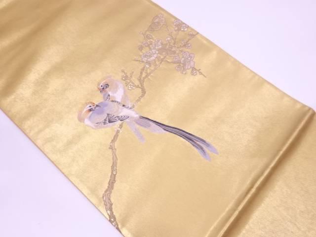 【IDN】 未使用品 松岡正剛 引箔松葉に鳥模様織出し袋帯【リサイクル】【着】