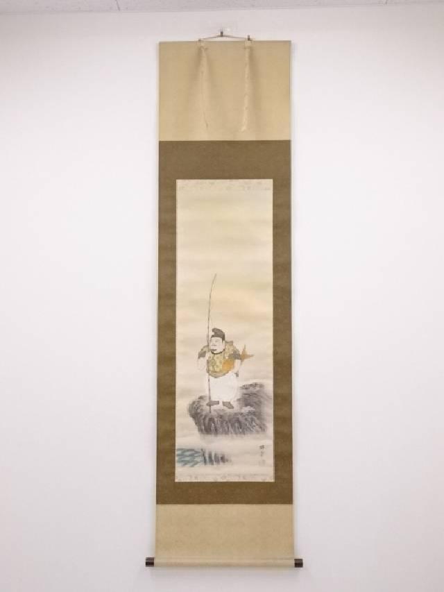 【IDN】 森田梅泉筆 恵比須大黒図 肉筆絹本双幅掛軸(共箱)【中古】【道】
