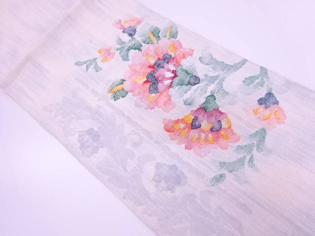 【IDN】 手織り真綿紬草花模様織出し名古屋帯【リサイクル】【中古】【着】