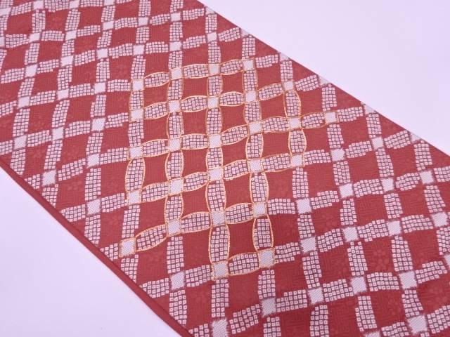 【IDN】 斜め格子に鹿の子・草花模様刺繍袋帯【リサイクル】【中古】【着】