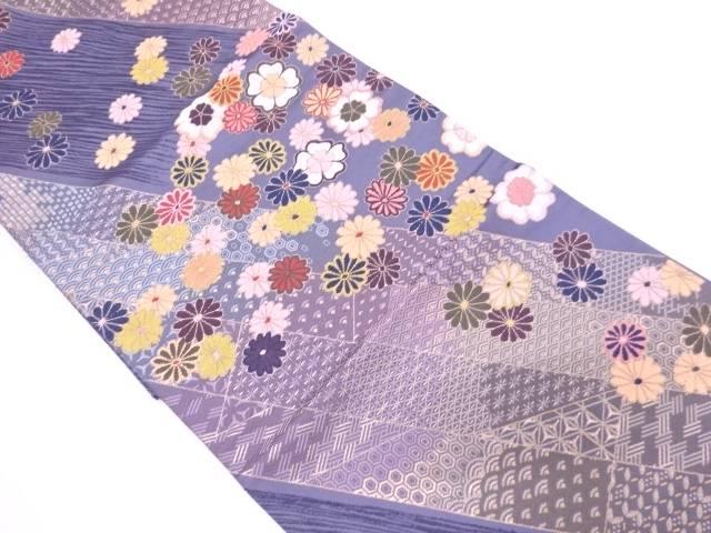 【IDN】 白綾苑大庭製 斜め縞に花・古典柄模様織出し袋帯【リサイクル】【中古】【着】