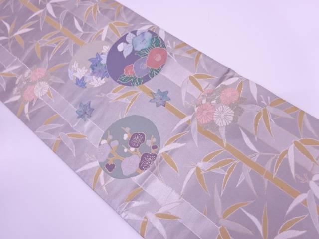 【IDN】 和紙竹笹に丸紋・花模様織出し袋帯【リサイクル】【中古】【着】